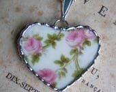 Fiona & The Fig Antique -Broken China - Antique Victorian French Limoges - Soldered Necklace Pendant Charm- Jewelry