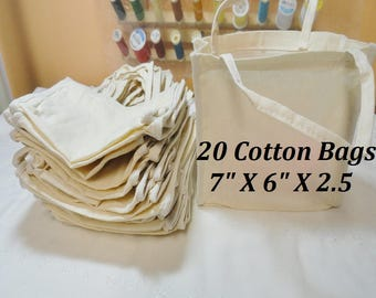 Cotton Tote Bag, 20 Natural Cotton Tote Bags, Special Occasion Bag, 6 X 7 Cotton Party Bags