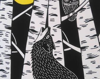 Wolf and Owl, Original Linocut Print, Signed Open Edition, Free Postage in UK, Hand Pulled, Printmaking,