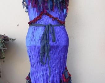 """20%OFF vintage inspired purple satin,chiffon and lace slip dress/top.....small to 34"""" bust...."""
