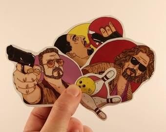 the big lebowski stickers laptop labels tags - cohen brothers john goodman duke illustration
