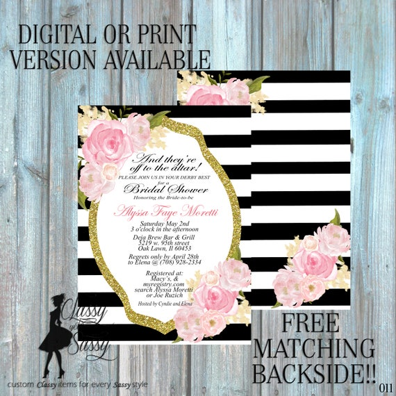 Bridal Shower invitation, Kentucky Derby Invitation Derby party Shower, Rose flowers Invitation, Tea pArty Luncheon Bridal Shower 011