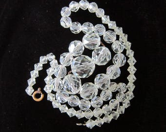 "Clear Crystal Bead Necklace Silver Chain Strung 19"" Long Multi Faceted Vintage Very Good Condition"