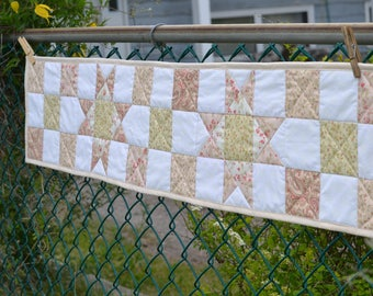 Cottage Chic table runner, Quilted, Pink Table Decor, Centerpiece