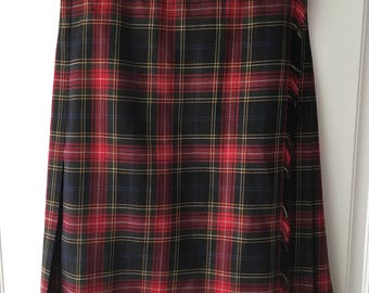 Women's vintage 90's red plaid wrap pleated wool skirt by Jones New York size 4