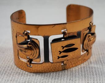 Modernist Mid Century Modern Large Copper Fish Cuff Bracelet