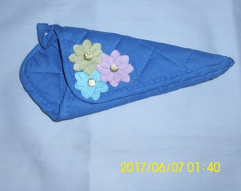 Blue Scissors Holder / Hand Stitched / Upcycled Scissors Holder /  Flower Design / Turquoise, Pink and Yellow Flowers / Household Helper