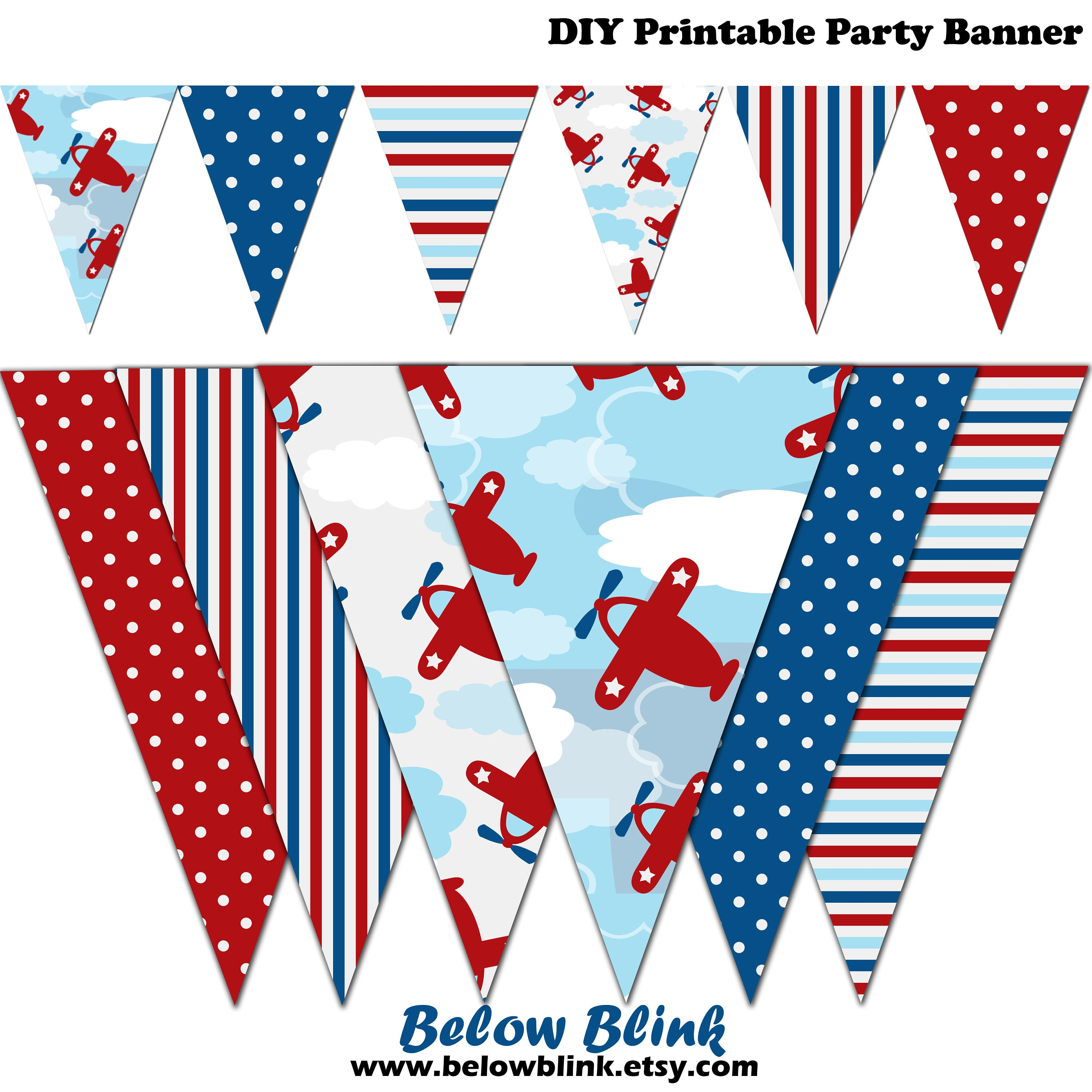Airplane Banner Baby Shower Printable Banner Airplane Party