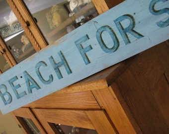 Sale! BEACH FOR SALE Beach Lovers Dream Sign! Handpainted Salvaged French Blue Wood From Destin Beach Cottage  30A Florida Blue Weathered