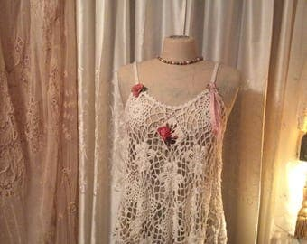 Sexy Crocheted Top in a cute babydoll dress style, cream ivory crochet, romantic and feminine