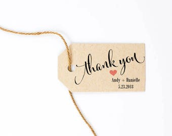 Thank You Tag, Wedding Favor Tag, Wedding Script Font, Party Favor, Bridal Shower Take Away Gift - 1.25 2.25 inches, Set of 25, CAN