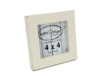 "4x4 1"" Gallery Picture Frame - Off White - Instagram, Home Decor, Wedding Favors, Wall Decor, Solid Wood, Handmade, Free Shipping"
