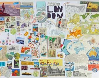 Travel Collage papers, 90 pieces, Paper Ephemera pack, Collage pack, scrap pack, paper scraps, craft supplies, Scrap-booking