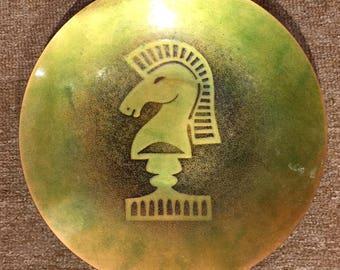 "Vintage Eames Pantone Era Green Copper Enamel ~ Chess Horse Knight 10"" Plate"