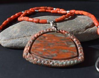 Brecciated jasper & Red Coral Necklace