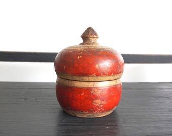 Antique Wooden Box Red Box India Box Shipping Included in the U.S.
