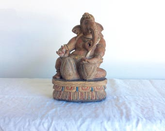 Ganesh Wooden Ganesh Playing Drums Remover of Obstacles Divine Music
