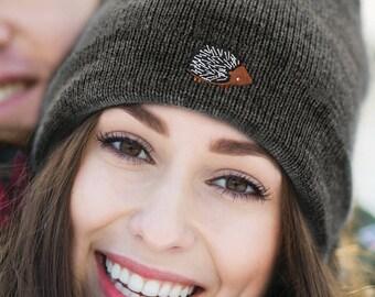 Hedgehog beanie skull cap, men's and women's, embroidered Hedgehog logo, gift for her
