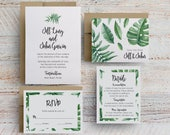 palm leaves wedding invitations, banana leaf wedding invitations, banana leaves invitation, leaves wedding invitations, printable