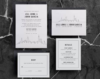 New York Wedding Invitation, New York Skyline, Manhattan Wedding, Manhattan Skyline, New York City, Invitation Template, Printable