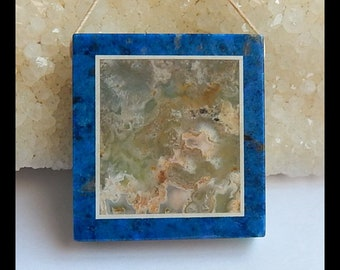 New,Ocean Jasper, Lapis Lazuli ,Amazonite Intarsia Pendant Bead,38x36x7mm,23.4g(s0906)