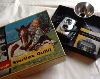 Vintage Kodak Brownie Camera, Starflex Outfit #25L, Vintage Camera, 50's Camera, Collect Cameras
