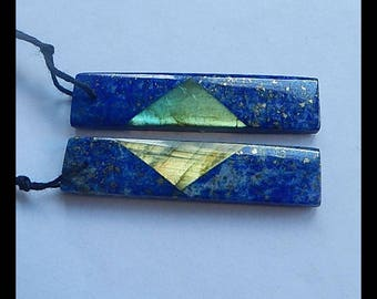 New,Lapis Lazuli,Labradorite Intarsia Gemstone Earring Bead,40x10x4mm,7.9g(E284)