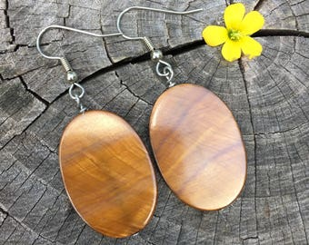 Golden Brown Mother of Pearl Ovals . Earrings