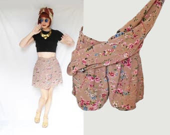 Tap Shorts with Attached Skirt is 40s Style Mini Skirt Over Shorts, a Vintage Skort, Retro Floral Print, Rayon Mini Skirt Attached Shorts