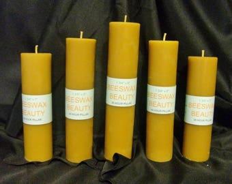 100% Pure Beeswax Pillar Candle 5 Pc Set