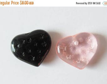 On Sale Pink and Black Glass Heart Pendants Charms Jewelry Supply Lot