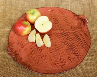 Ceramic hand built pottery serving platter with handles, round serving tray