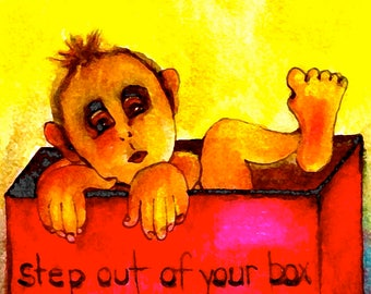 Step Out of Your Box-Whimsical Art Print by SQ Streater-Free Shipping