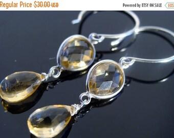 Citrine Bezel Set Stone Sterling Silver Earrings