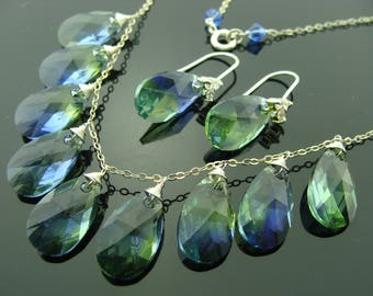 Swarovski Crystal Lavender and Chrysolite 925 Sterling Silver Earrings and Necklace Set
