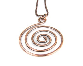 Hammered Copper Spiral Pendant Necklace, Antiqued Patina, Hammered Copper Swirl Necklace
