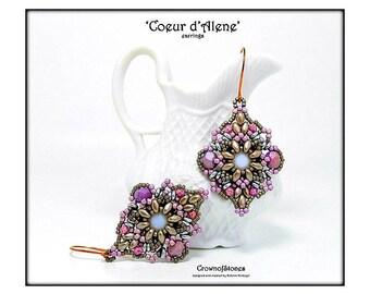 Bead pattern beaded earrings 'Coeur d'Alene' made with Swarovski xilion, Superduos, fire polished beads, O beads and seed beads