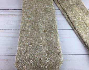 Beigish Brown Linen tie (not skinny), men's ties, tie for men, gifts for him, gifts for men, groomsmen tie, wedding tie, wedding party tie,