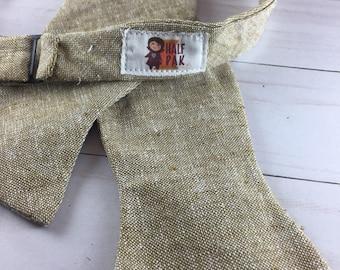 Beige/Brown Linen Adjustable Bow Tie, bowtie for men, wedding tie, groomsmen tie, wedding guest tie, gifts for men, gifts for him, gifts men