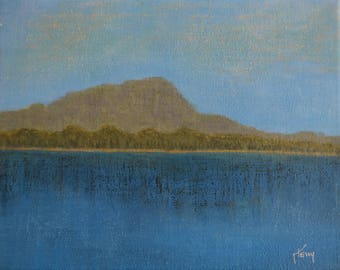 Small Paintings...Lake Landscape Art...Small Art 8x10...Original Art...Ready to Hang ... Blue Painting
