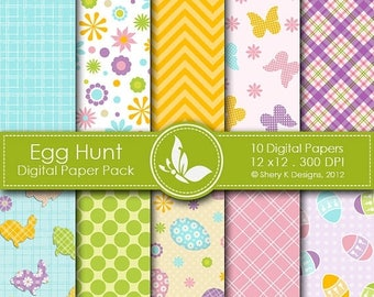 40% off Egg Hunt Paper Pack - 10 printable Digital Scrapbooking papers - 12 x12 - 300 DPI