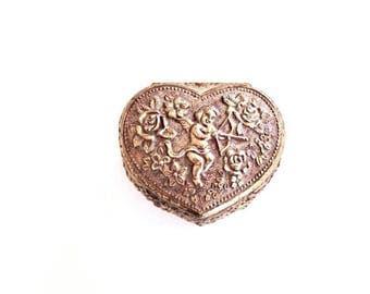 Small Ring Box . cupid ring box . vintage wedding ring box . cherub . heart jewelry box . heart trinket box
