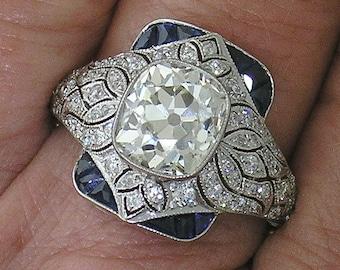 CUSHION DIAMOND Ring~2.63ct Cushion Diamond in Platinum Diamond Mounting