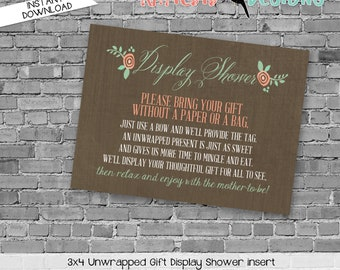 Display shower insert Unwrapped gift enclosure card Storybook baby shower invitation Once upon a time baby shower Rustic   1379 Katiedid