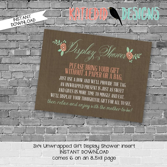 Display shower insert Unwrapped gift enclosure card Storybook baby shower invitation Once upon a time baby shower Rustic | 1379 Katiedid