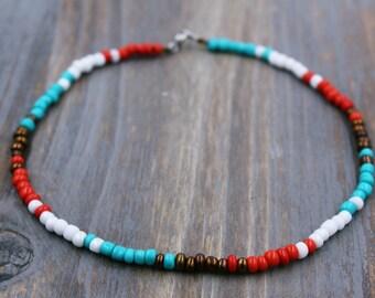 Turquoise Ankle Bracelet - Beaded Anklet - Boho Anklet - Boho Jewelry - Bohemian Ankle Bracelet - Turquoise Anklet - Boho Ankle Bracelet
