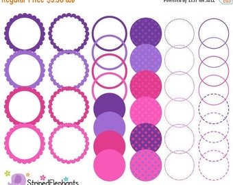 40% OFF SALE Purple and Pink Digital Frames - Clip Art Frames - Instant Download - Commercial Use