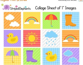 40% OFF SALE Weather Digital Collage Sheets - 1 Inch Square Images - Instant Download - Commercial Use