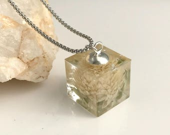 White Amaranth Flower Necklace, resin cube pendant real dried pressed flowers nature natural gift gifts for her wife girlfriend