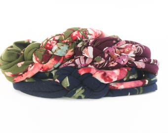Floral Take Home Headbands - Floral Newborn Headband - Mommy and Me Headwraps - Matching Sister Headbands - Top Knot Set - Floral Print